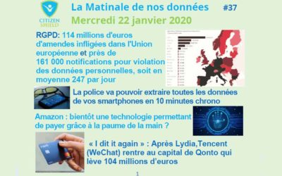 RGPD 114 m€ d'amendes & 161 000 notifications, Police le « kiosque », Amazon payer avec la main, Tencent après Lydia voici Qonto